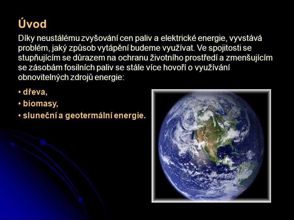 Úvod Díky neustálému zvyšování cen paliv a elektrické energie, vyvstává problém, jaký způsob vytápění budeme využívat. Ve spojitosti se stupňujícím se