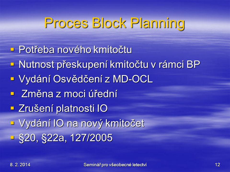 8. 2. 2014Seminář pro všeobecné letectví12 Proces Block Planning  Potřeba nového kmitočtu  Nutnost přeskupení kmitočtu v rámci BP  Vydání Osvědčení