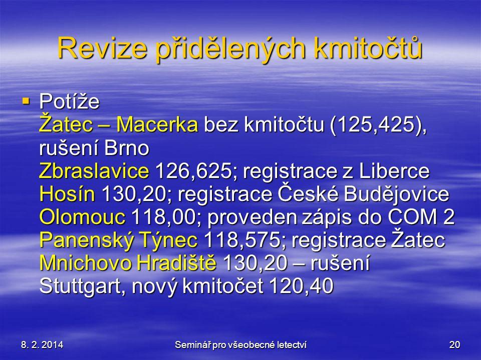 8. 2. 2014Seminář pro všeobecné letectví20 Revize přidělených kmitočtů  Potíže Žatec – Macerka bez kmitočtu (125,425), rušení Brno Zbraslavice 126,62