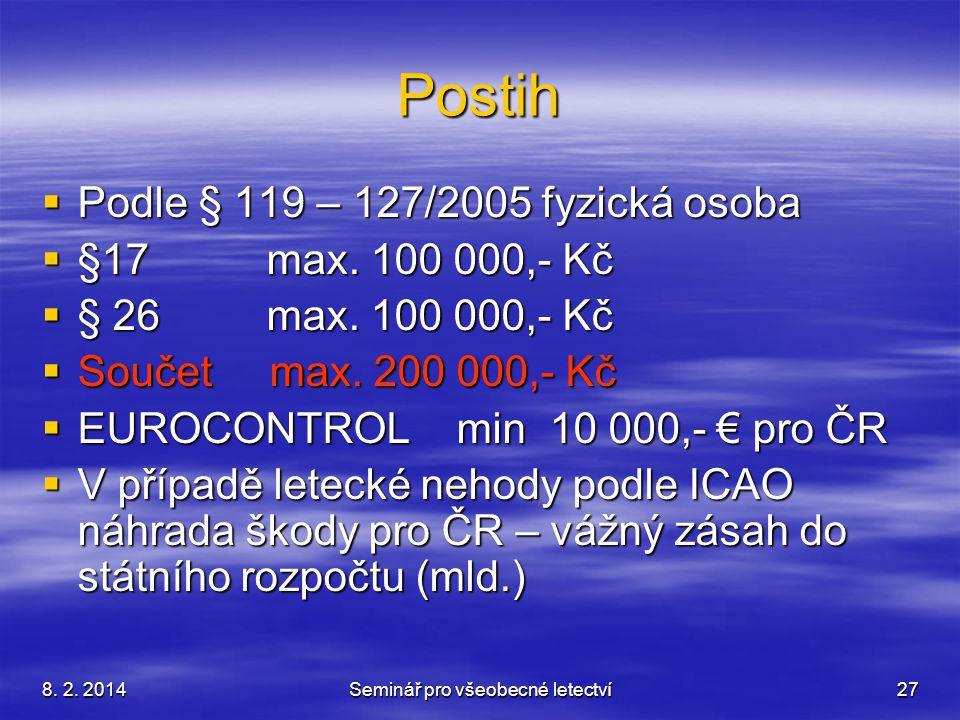8. 2. 2014Seminář pro všeobecné letectví27 Postih  Podle § 119 – 127/2005 fyzická osoba  §17 max. 100 000,- Kč  § 26 max. 100 000,- Kč  Součet max