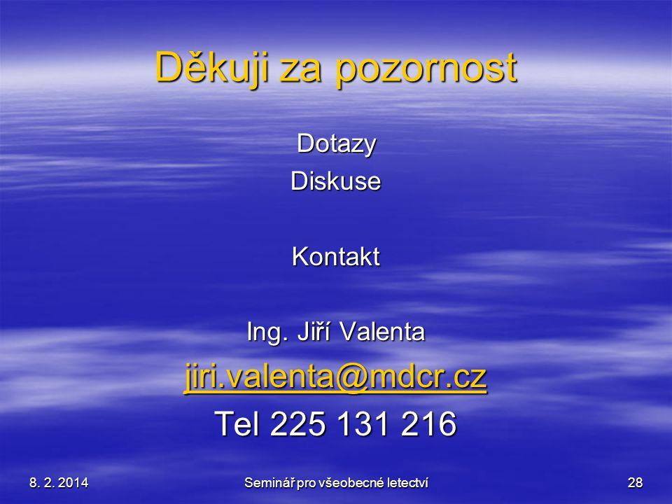 8. 2. 2014Seminář pro všeobecné letectví28 Děkuji za pozornost DotazyDiskuseKontakt Ing. Jiří Valenta jiri.valenta@mdcr.cz Tel 225 131 216