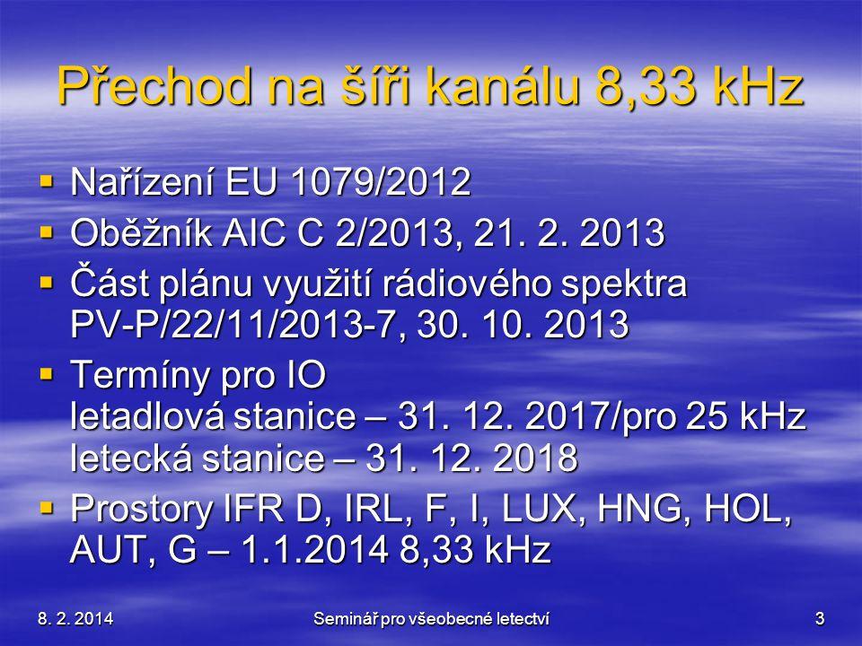 8. 2. 2014Seminář pro všeobecné letectví3 Přechod na šíři kanálu 8,33 kHz  Nařízení EU 1079/2012  Oběžník AIC C 2/2013, 21. 2. 2013  Část plánu vyu
