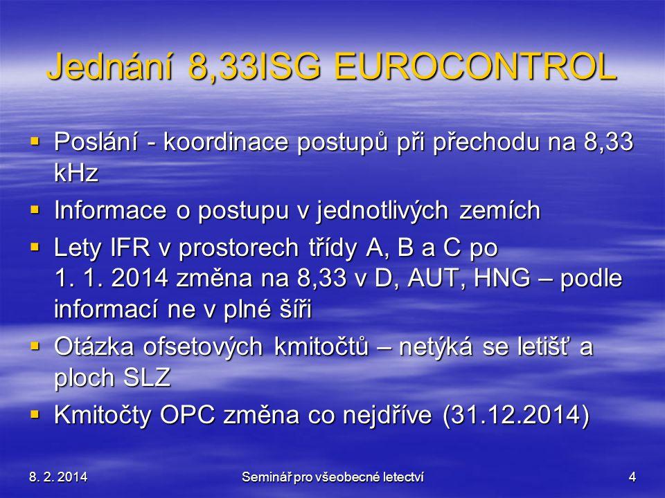 8. 2. 2014Seminář pro všeobecné letectví4 Jednání 8,33ISG EUROCONTROL  Poslání - koordinace postupů při přechodu na 8,33 kHz  Informace o postupu v