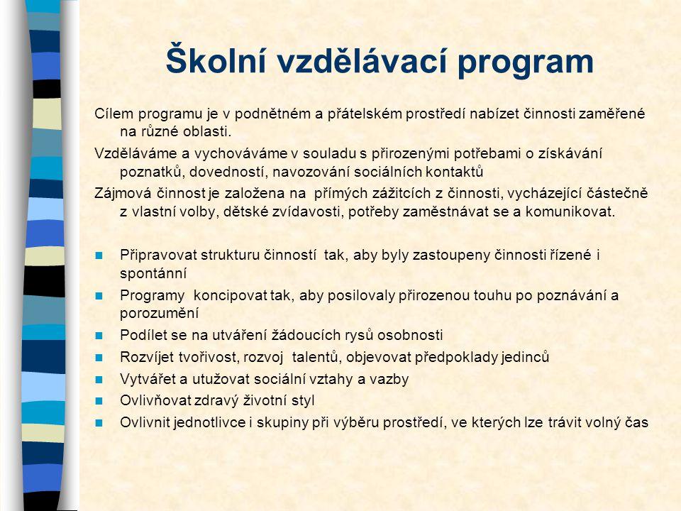 Školní vzdělávací program Cílem programu je v podnětném a přátelském prostředí nabízet činnosti zaměřené na různé oblasti. Vzděláváme a vychováváme v