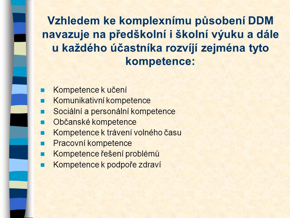 Vzhledem ke komplexnímu působení DDM navazuje na předškolní i školní výuku a dále u každého účastníka rozvíjí zejména tyto kompetence:  Kompetence k