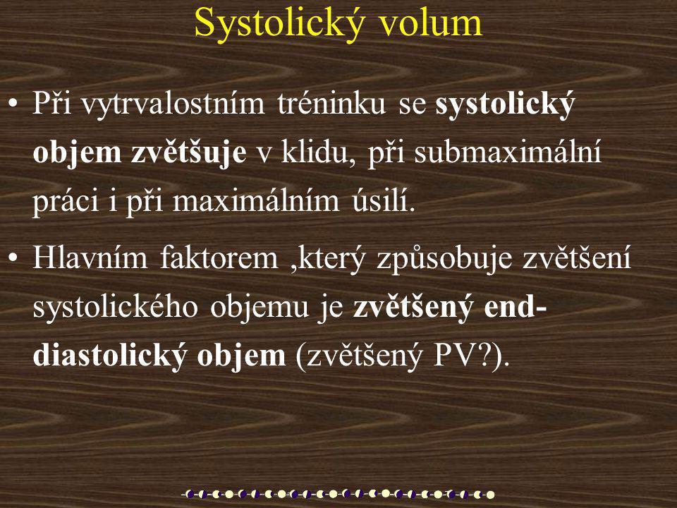Systolický volum •Při vytrvalostním tréninku se systolický objem zvětšuje v klidu, při submaximální práci i při maximálním úsilí. •Hlavním faktorem,kt