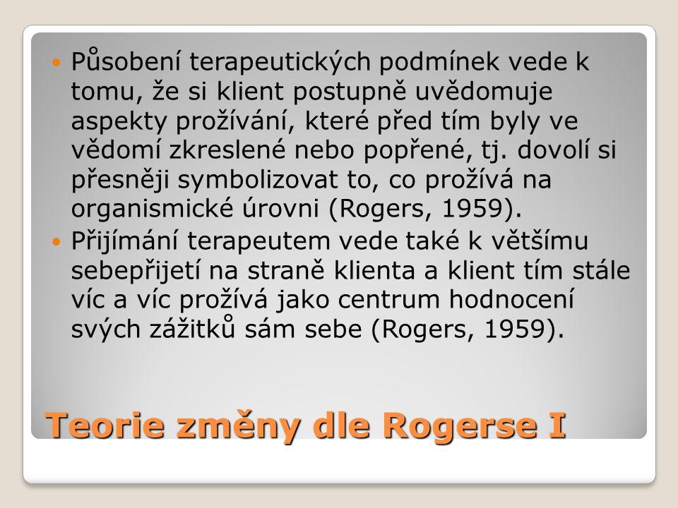 Teorie změny dle Rogerse I  Působení terapeutických podmínek vede k tomu, že si klient postupně uvědomuje aspekty prožívání, které před tím byly ve v