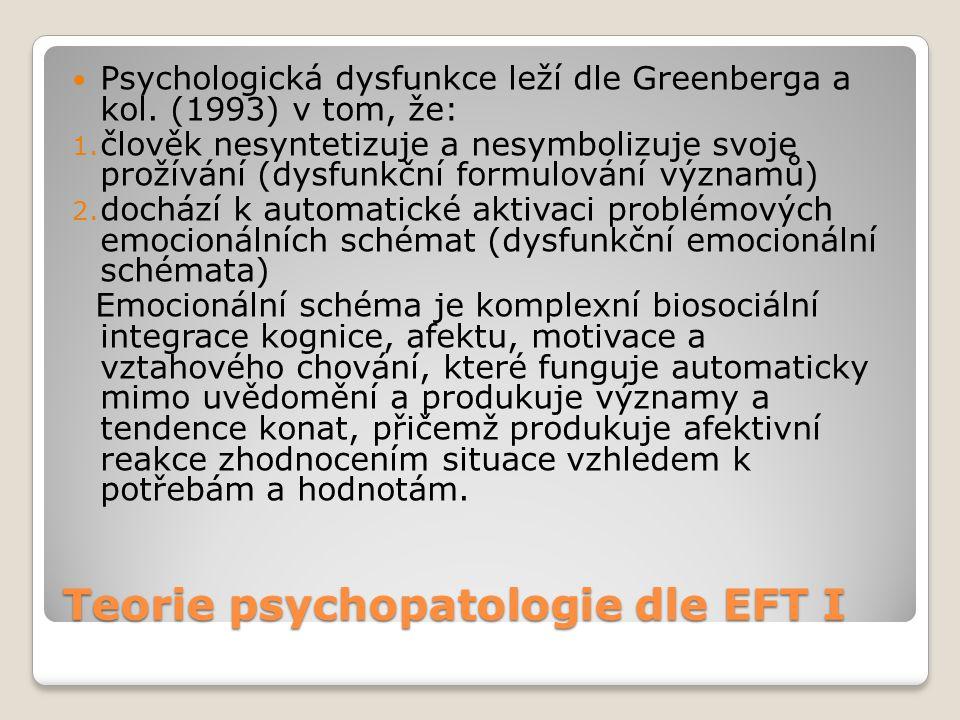 Teorie psychopatologie dle EFT I  Psychologická dysfunkce leží dle Greenberga a kol. (1993) v tom, že: 1. člověk nesyntetizuje a nesymbolizuje svoje