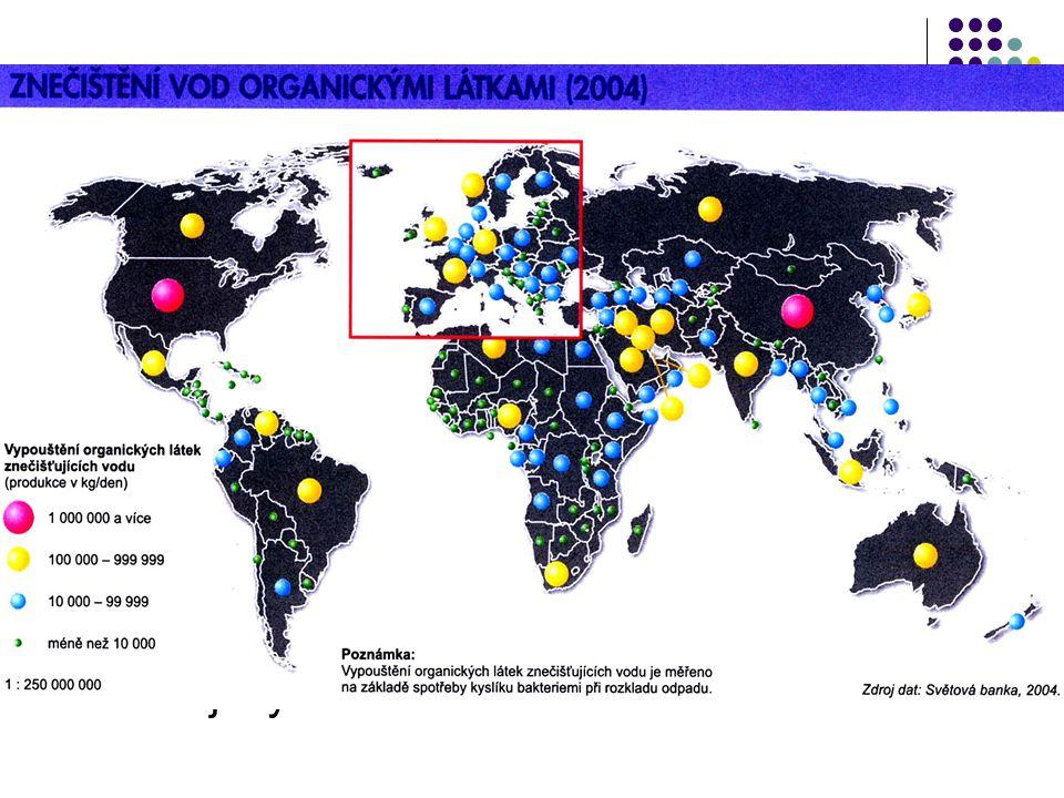 Povrchové a podpovrchové vody  Eutrofizace vody – nadměrné množství dusíku a fosforu (hnojiva, prací prostředky) – přemnožení řas a sinic  Samočiště