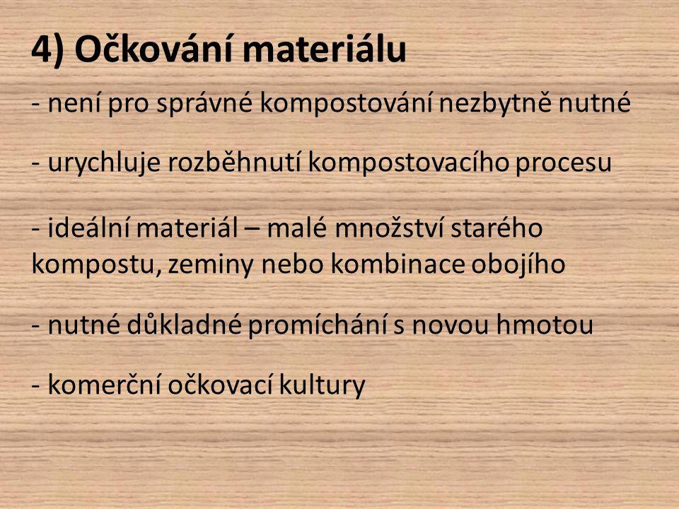 4) Očkování materiálu - není pro správné kompostování nezbytně nutné - urychluje rozběhnutí kompostovacího procesu - ideální materiál – malé množství