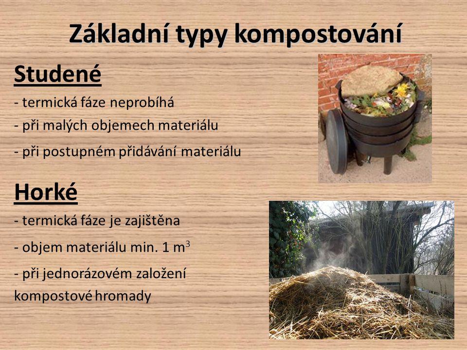 Základní typy kompostování Studené - termická fáze neprobíhá - při malých objemech materiálu - při postupném přidávání materiálu Horké - termická fáze