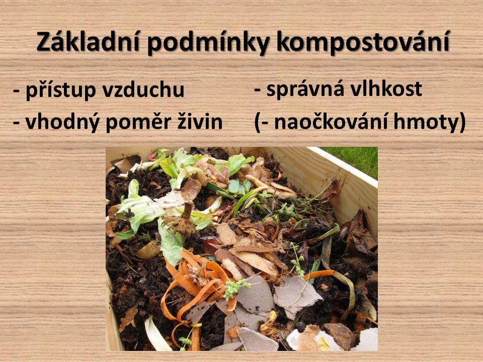 Základní podmínky kompostování - přístup vzduchu - správná vlhkost - vhodný poměr živin(- naočkování hmoty)