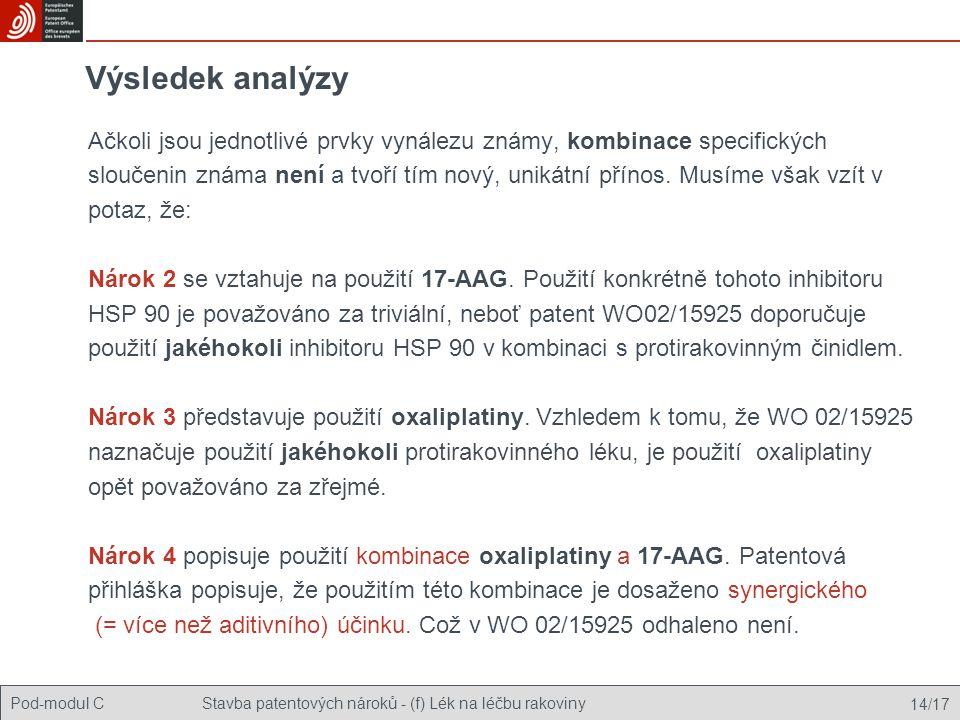 Pod-modul CStavba patentových nároků - (f) Lék na léčbu rakoviny 14/17 Výsledek analýzy Ačkoli jsou jednotlivé prvky vynálezu známy, kombinace specifi