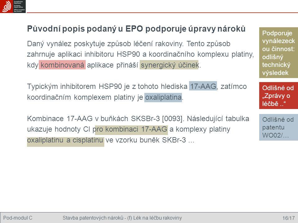 """Pod-modul CStavba patentových nároků - (f) Lék na léčbu rakoviny 16/17 Původní popis podaný u EPO podporuje úpravy nároků Odlišné od """"Zprávy o léčbě.."""