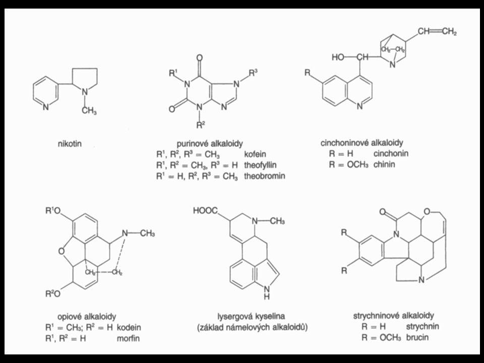 Alkaloidy •skupina zahrnující více než 7 000 složitých organických sloučenin •obvykle rostlinného, zřídka živočišného původu •slabě bazické •v molekule obsahují jeden či více atomů dusíku •nerozpustné nebo špatně rozpustné ve vodě, dobře rozpustné v organických rozpouštědlech •s kyselinami tvoří soli dobře rozpustné ve vodě •s tříslovinami tvoří většinou sraženiny •mnohé alkaloidy patří mezi prudké jedy •název většinou odvozen od názvu rostliny, ze které byl alkaloid poprvé izolován