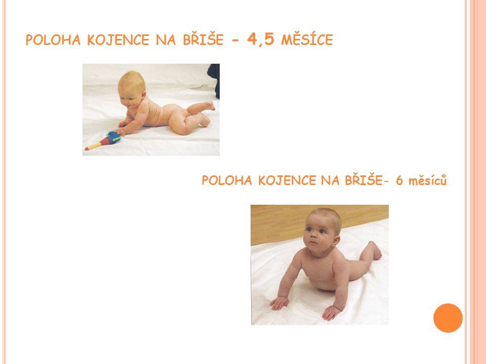 POLOHA KOJENCE NA BŘIŠE - 4,5 MĚSÍCE POLOHA KOJENCE NA BŘIŠE- 6 měsíců