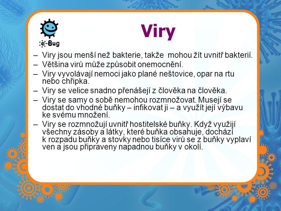Viry –Viry jsou menší než bakterie, takže mohou žít uvnitř bakterií. –Většina virů může způsobit onemocnění. –Viry vyvolávají nemoci jako plané neštov