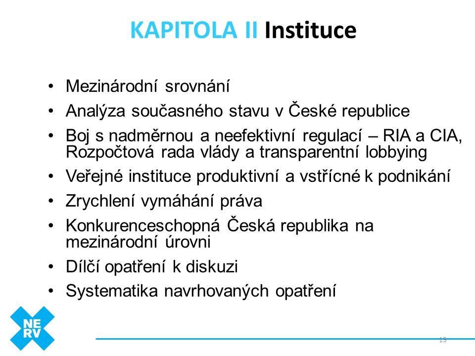 KAPITOLA II Instituce •Mezinárodní srovnání •Analýza současného stavu v České republice •Boj s nadměrnou a neefektivní regulací – RIA a CIA, Rozpočtov