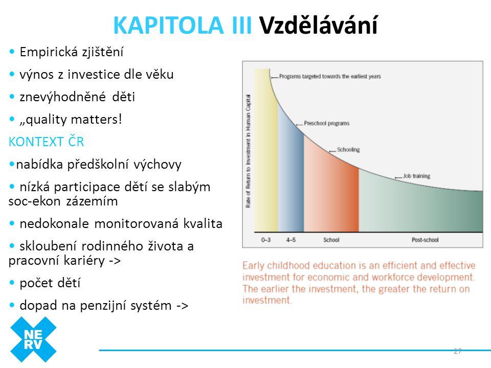 """KAPITOLA III Vzdělávání • Empirická zjištění • výnos z investice dle věku • znevýhodněné děti • """"quality matters! KONTEXT ČR •nabídka předškolní výcho"""