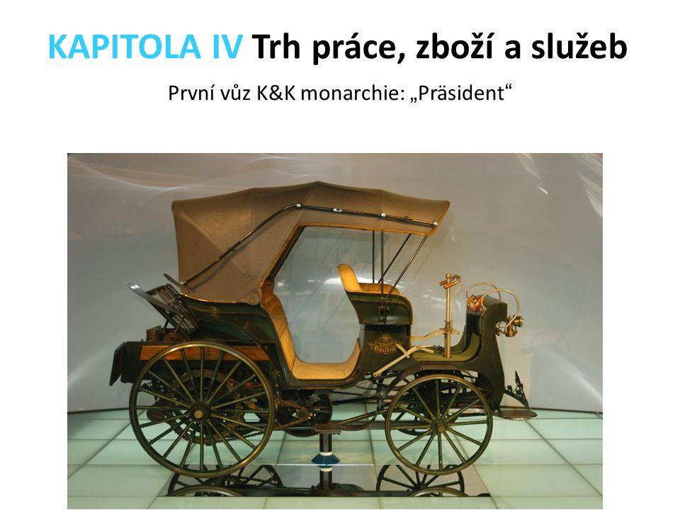 """První vůz K&K monarchie: """" Präsident """" KAPITOLA IV Trh práce, zboží a služeb"""