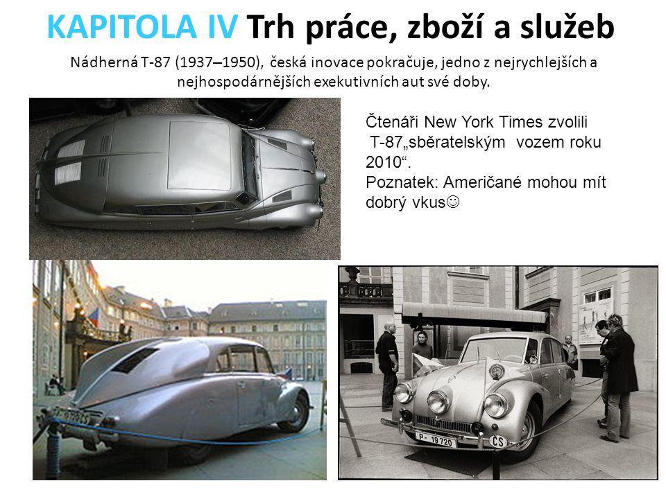Nádherná T-87 (1937 – 1950), česká inovace pokračuje, jedno z nejrychlejších a nejhospodárnějších exekutivních aut své doby. Čtenáři New York Times zv