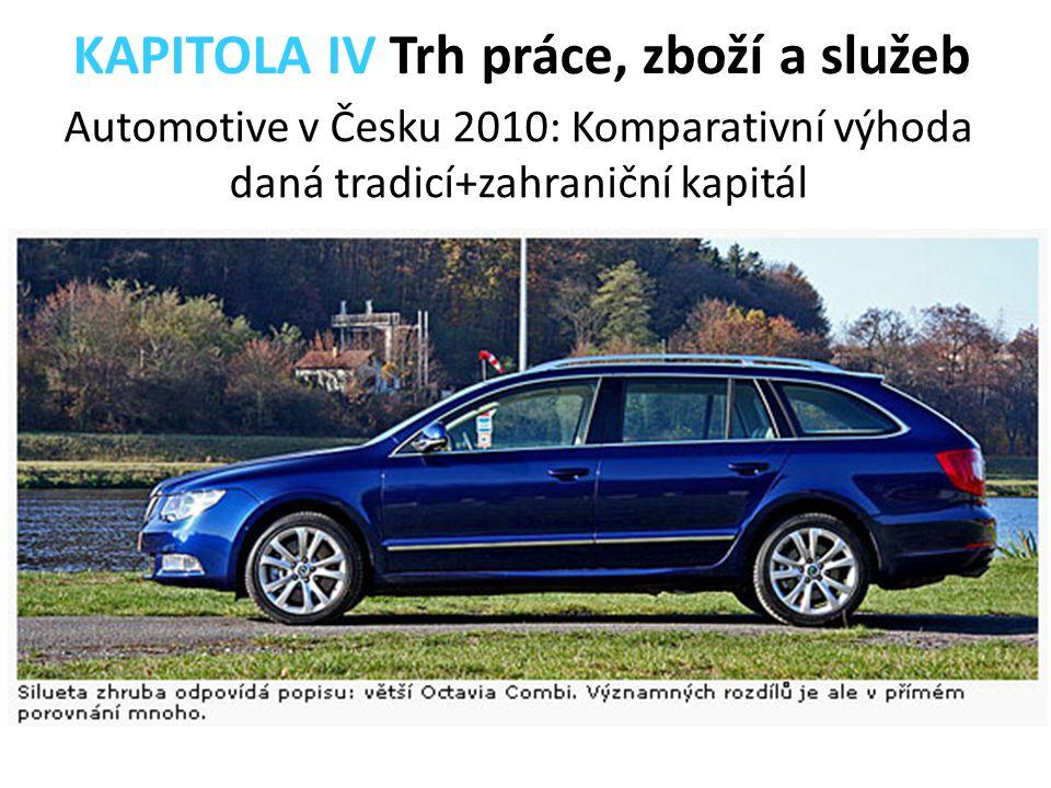 Automotive v Česku 2010: Komparativní výhoda daná tradicí+zahraniční kapitál KAPITOLA IV Trh práce, zboží a služeb