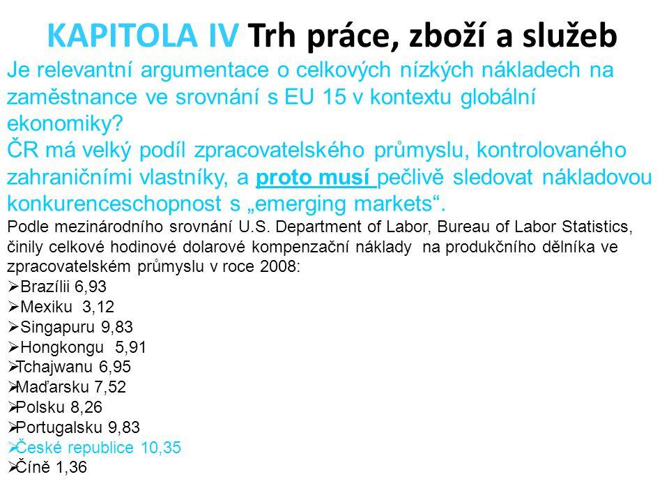 Je relevantní argumentace o celkových nízkých nákladech na zaměstnance ve srovnání s EU 15 v kontextu globální ekonomiky? ČR má velký podíl zpracovate
