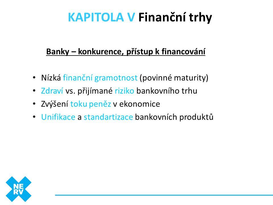 Banky – konkurence, přístup k financování • Nízká finanční gramotnost (povinné maturity) • Zdraví vs. přijímané riziko bankovního trhu • Zvýšení toku