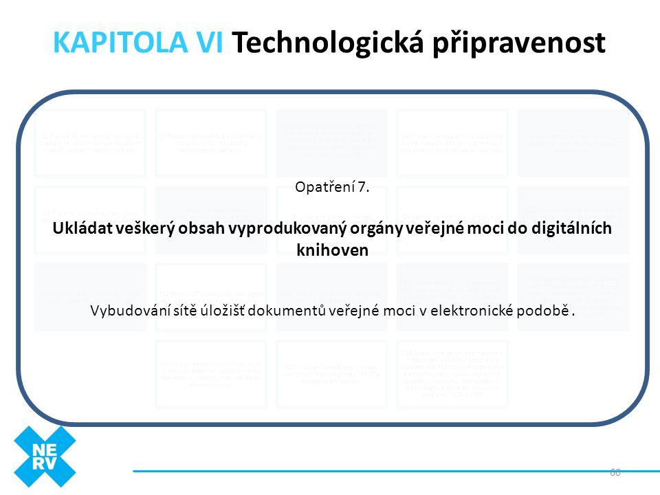 """KAPITOLA VI Technologická připravenost 60 O1 Pravidelně monitorovat rozvojové strategie největších konkurentů (a zemí -""""vzorů"""") a jejich investiční po"""