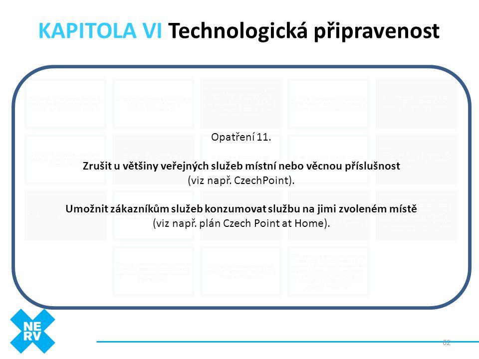 """KAPITOLA VI Technologická připravenost 62 O1 Pravidelně monitorovat rozvojové strategie největších konkurentů (a zemí -""""vzorů"""") a jejich investiční po"""