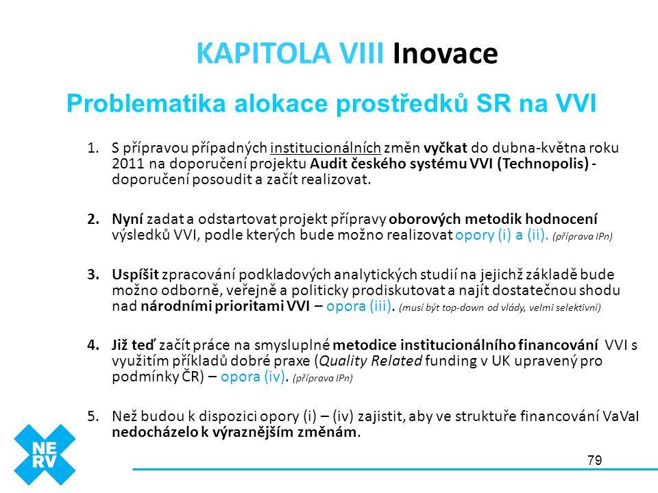 79 1.S přípravou případných institucionálních změn vyčkat do dubna-května roku 2011 na doporučení projektu Audit českého systému VVI (Technopolis) - d
