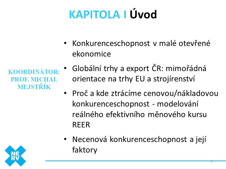 KAPITOLA I Úvod • Konkurenceschopnost v malé otevřené ekonomice • Globální trhy a export ČR: mimořádná orientace na trhy EU a strojírenství • Proč a k