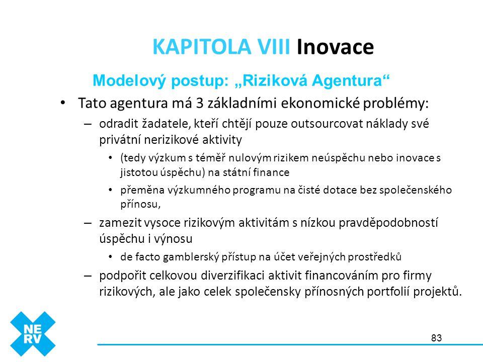 83 KAPITOLA VIII Inovace • Tato agentura má 3 základními ekonomické problémy: – odradit žadatele, kteří chtějí pouze outsourcovat náklady své privátní