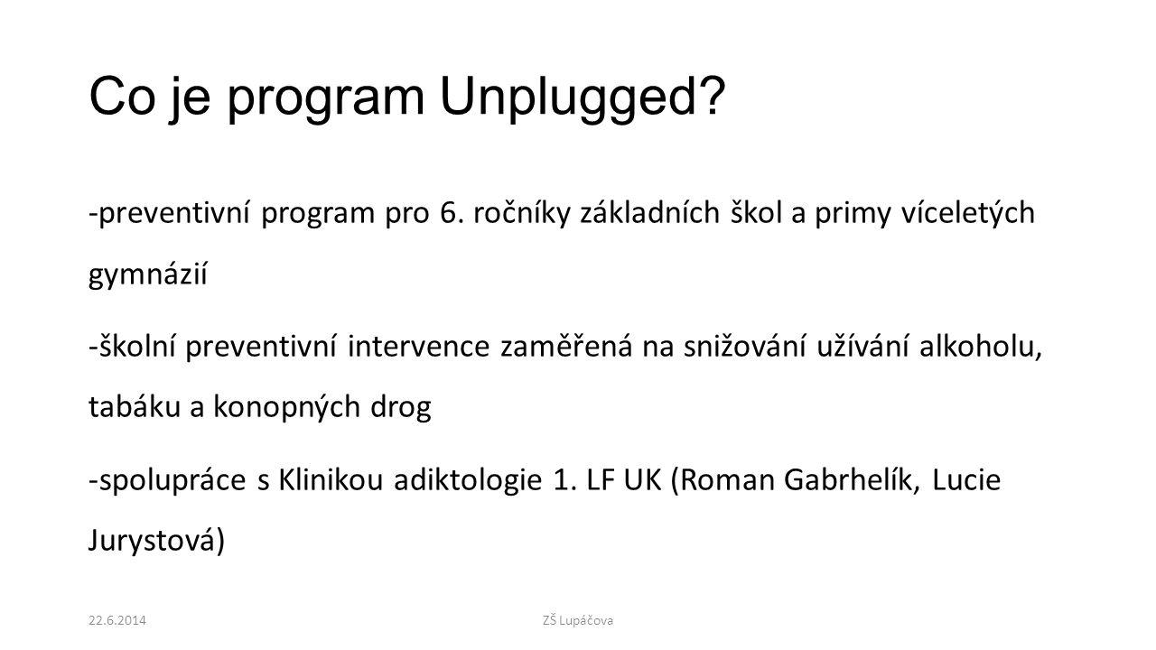 Co je program Unplugged? -preventivní program pro 6. ročníky základních škol a primy víceletých gymnázií -školní preventivní intervence zaměřená na sn
