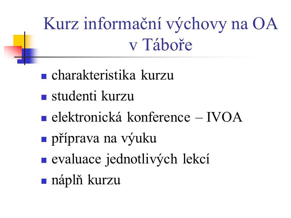 Kurz informační výchovy na OA v Táboře  charakteristika kurzu  studenti kurzu  elektronická konference – IVOA  příprava na výuku  evaluace jednotlivých lekcí  náplň kurzu