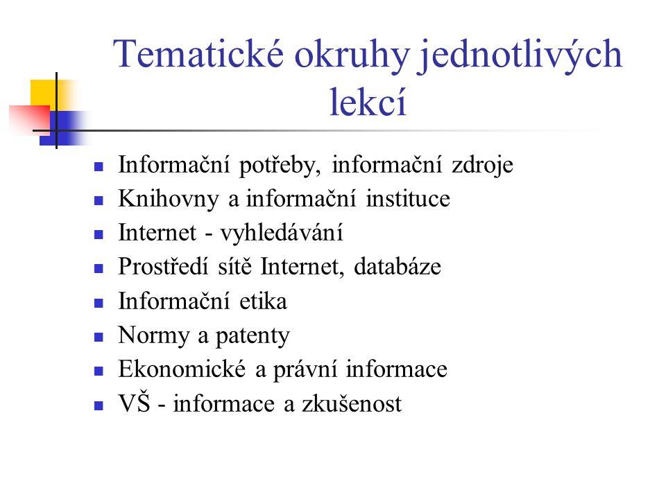 Tematické okruhy jednotlivých lekcí  Informační potřeby, informační zdroje  Knihovny a informační instituce  Internet - vyhledávání  Prostředí sítě Internet, databáze  Informační etika  Normy a patenty  Ekonomické a právní informace  VŠ - informace a zkušenost