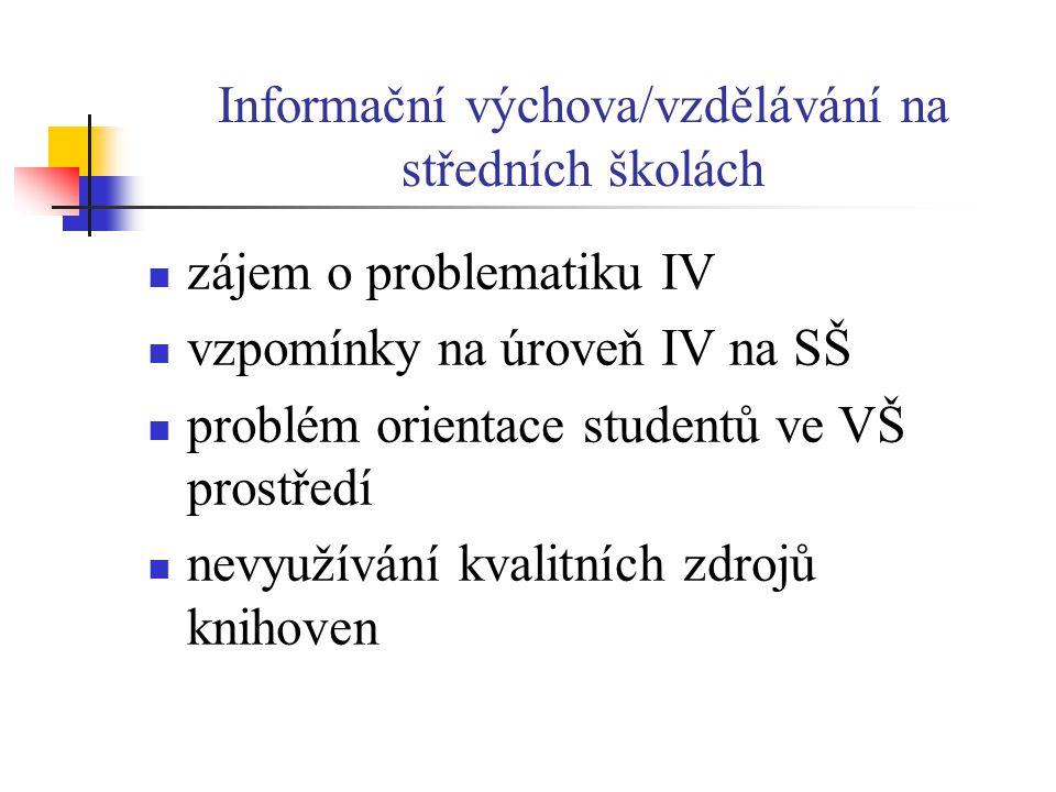 Informační výchova/vzdělávání na středních školách  zájem o problematiku IV  vzpomínky na úroveň IV na SŠ  problém orientace studentů ve VŠ prostředí  nevyužívání kvalitních zdrojů knihoven
