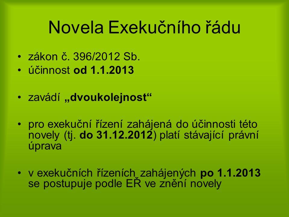 Novela Exekučního řádu •zákon č.396/2012 Sb.