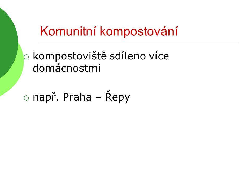 Komunitní kompostování  kompostoviště sdíleno více domácnostmi  např. Praha – Řepy