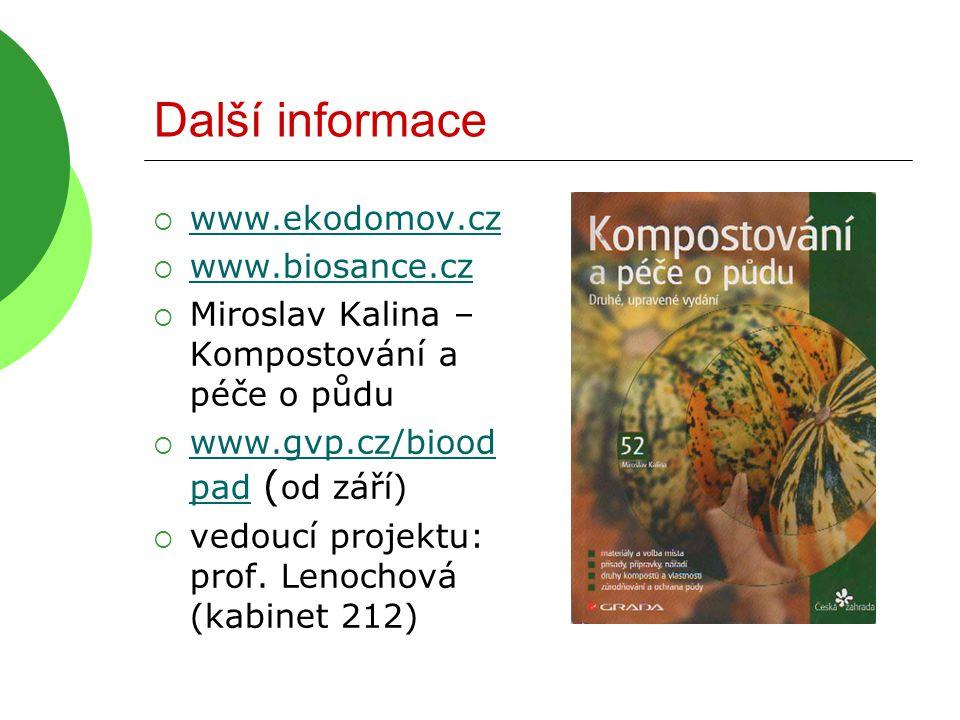Další informace  www.ekodomov.cz www.ekodomov.cz  www.biosance.cz www.biosance.cz  Miroslav Kalina – Kompostování a péče o půdu  www.gvp.cz/biood