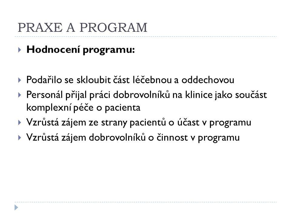 PRAXE A PROGRAM  Hodnocení programu:  Podařilo se skloubit část léčebnou a oddechovou  Personál přijal práci dobrovolníků na klinice jako součást k