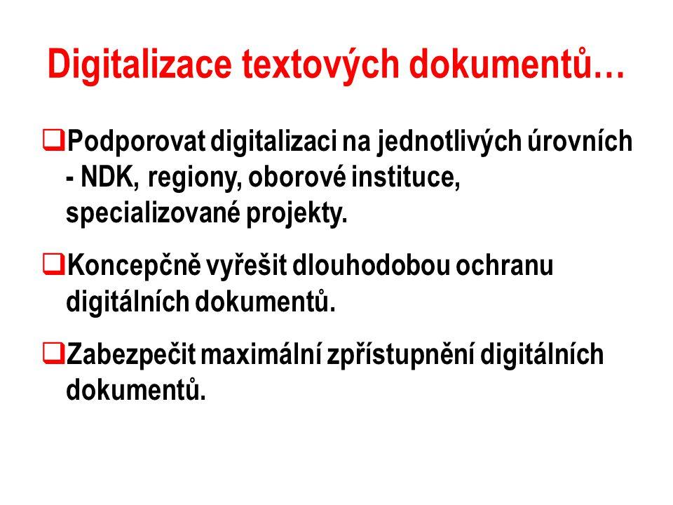 Digitalizace textových dokumentů…  Podporovat digitalizaci na jednotlivých úrovních - NDK, regiony, oborové instituce, specializované projekty.  Kon