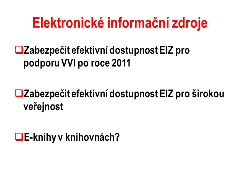 Elektronické informační zdroje  Zabezpečit efektivní dostupnost EIZ pro podporu VVI po roce 2011  Zabezpečit efektivní dostupnost EIZ pro širokou ve