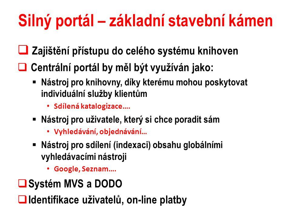 Silný portál – základní stavební kámen  Zajištění přístupu do celého systému knihoven  Centrální portál by měl být využíván jako:  Nástroj pro knih