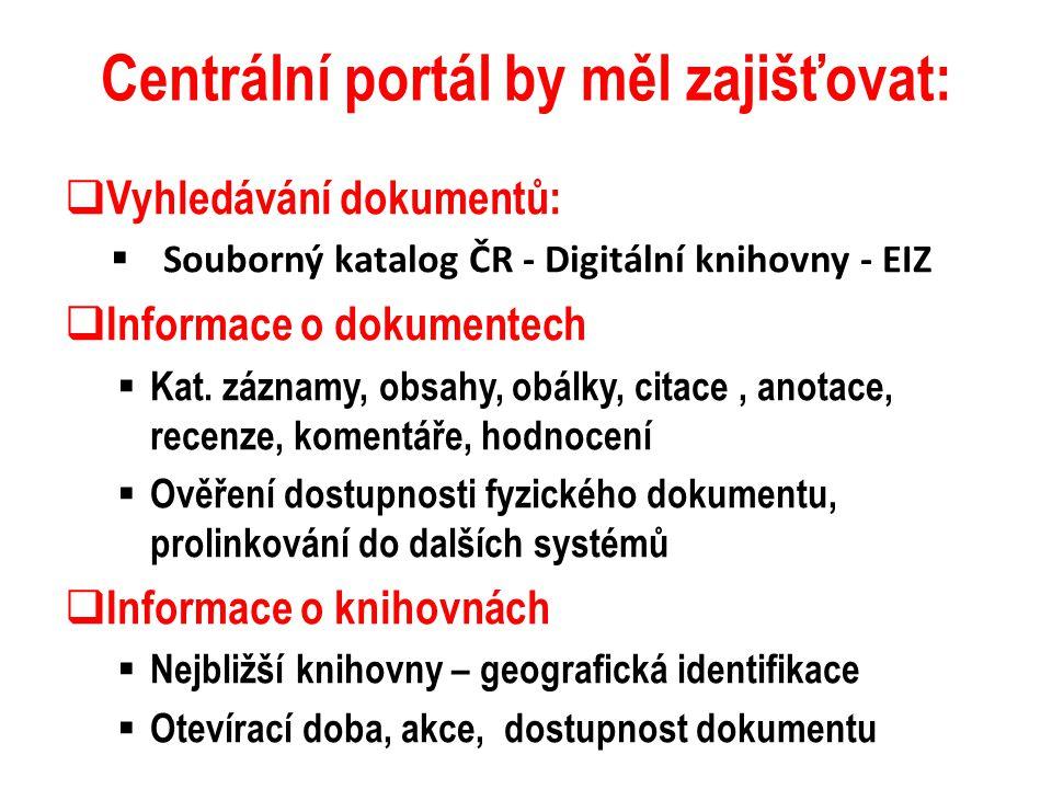 Centrální portál by měl zajišťovat:  Vyhledávání dokumentů:  Souborný katalog ČR - Digitální knihovny - EIZ  Informace o dokumentech  Kat. záznamy