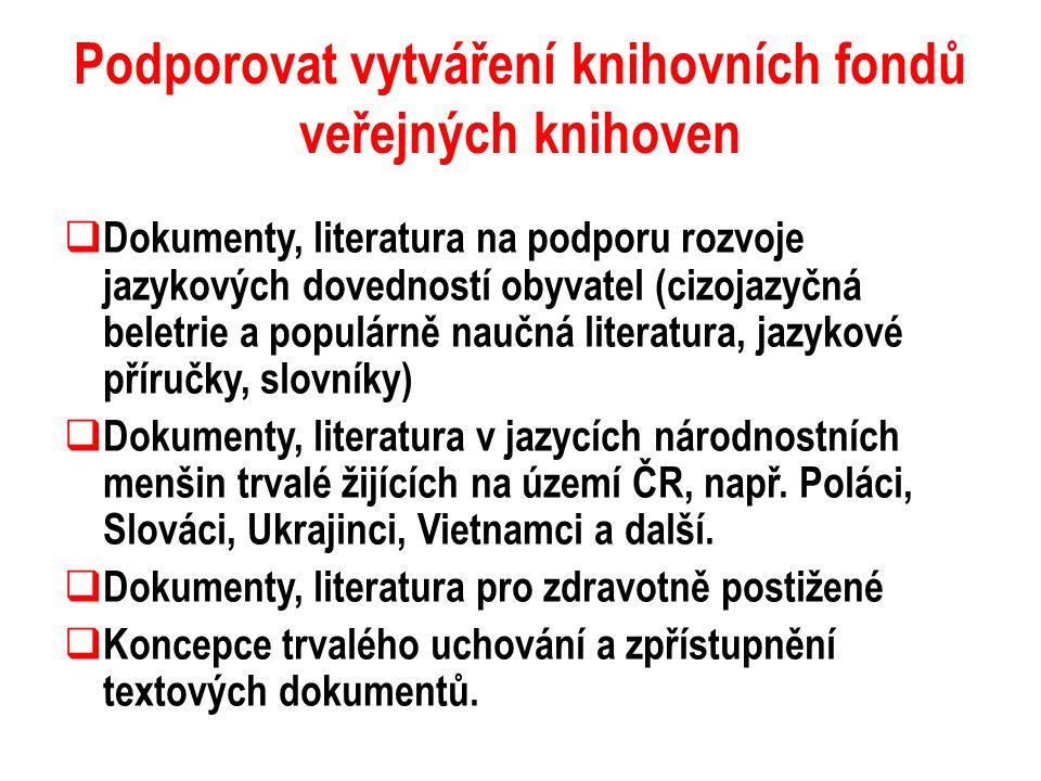 Podporovat vytváření knihovních fondů veřejných knihoven  Dokumenty, literatura na podporu rozvoje jazykových dovedností obyvatel (cizojazyčná beletr