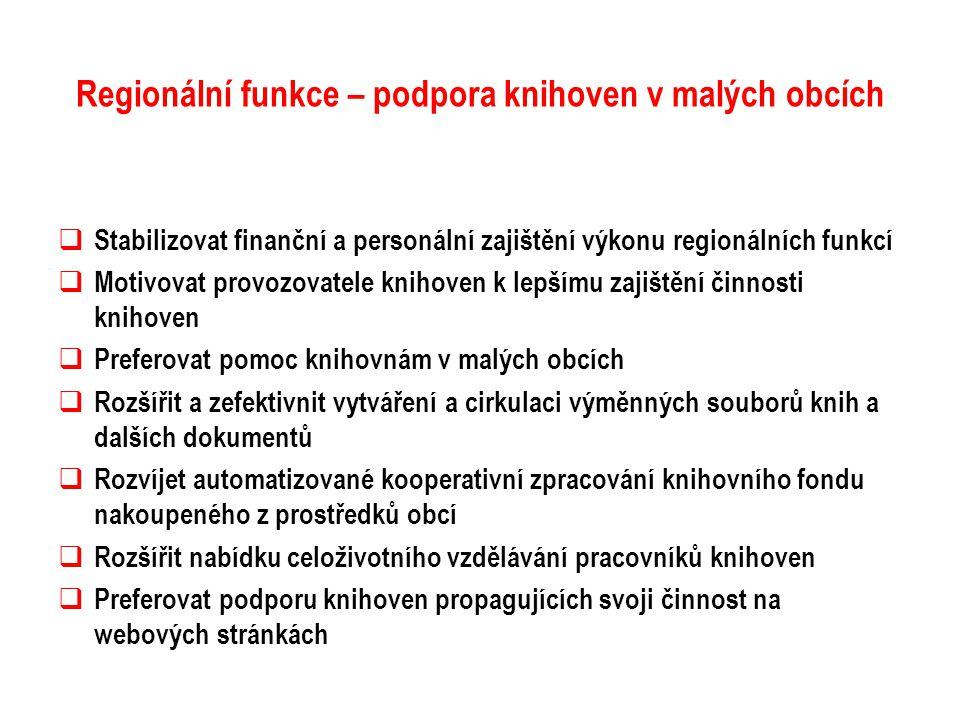 Regionální funkce – podpora knihoven v malých obcích  Stabilizovat finanční a personální zajištění výkonu regionálních funkcí  Motivovat provozovate