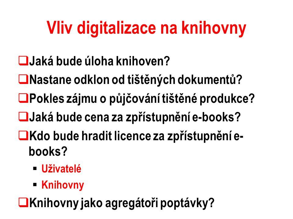Vliv digitalizace na knihovny  Jaká bude úloha knihoven?  Nastane odklon od tištěných dokumentů?  Pokles zájmu o půjčování tištěné produkce?  Jaká