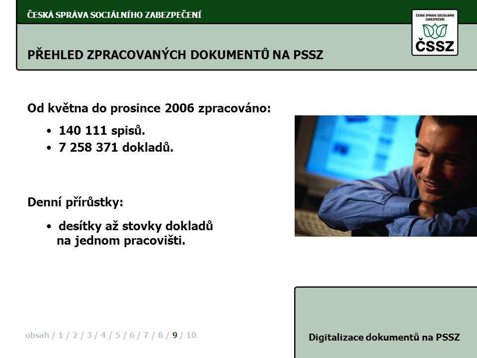 ČESKÁ SPRÁVA SOCIÁLNÍHO ZABEZPEČENÍ PŘEHLED ZPRACOVANÝCH DOKUMENTŮ NA PSSZ Digitalizace dokumentů na PSSZ Od května do prosince 2006 zpracováno: obsah