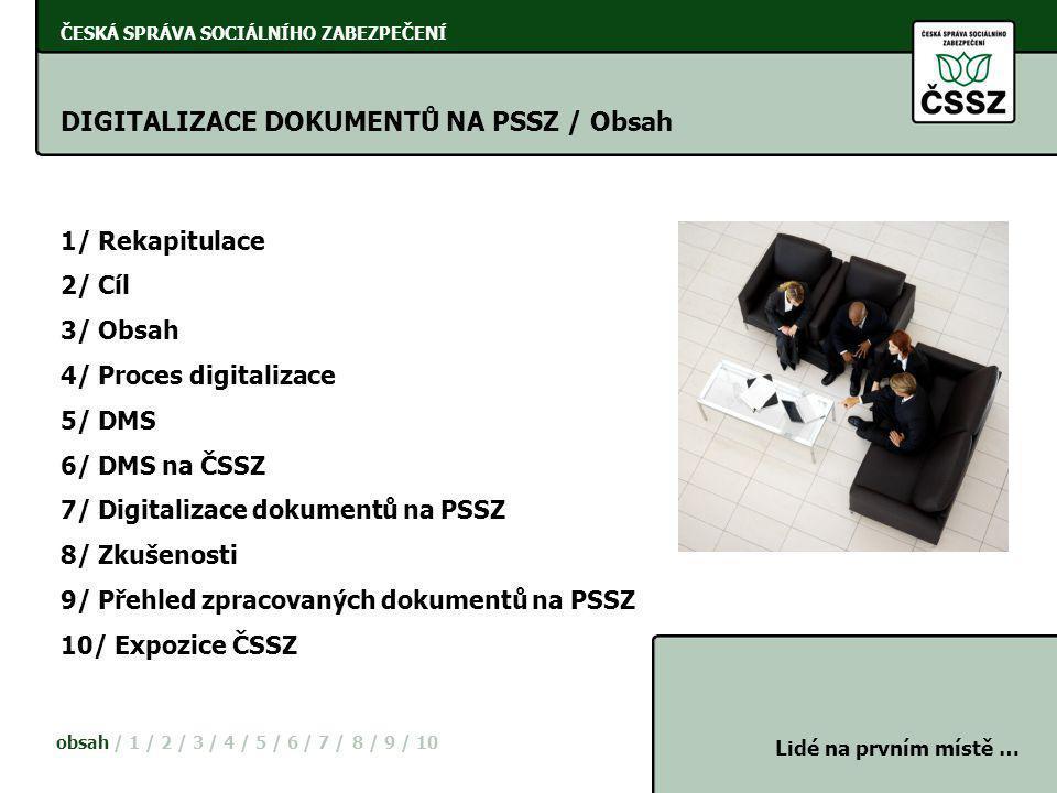 ČESKÁ SPRÁVA SOCIÁLNÍHO ZABEZPEČENÍ DIGITALIZACE DOKUMENTŮ NA PSSZ / Obsah 1/ Rekapitulace 2/ Cíl 3/ Obsah 4/ Proces digitalizace 5/ DMS 6/ DMS na ČSS